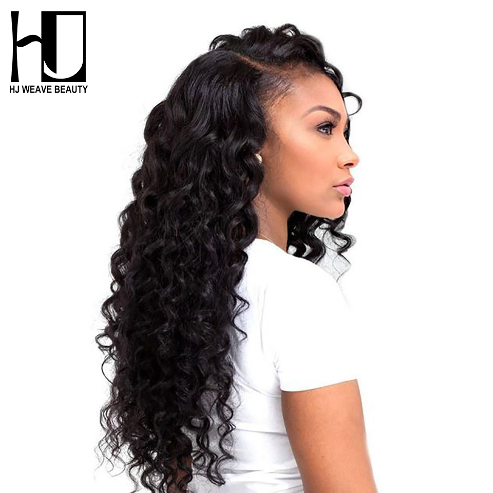 HJ WEAVE BEAUTY Lace Front Human Hair Wigs Deep Wave Peruvian Remy Hair Wigs For Black