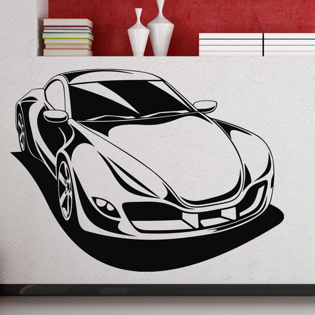 Sport Racing Car Wall Decals Automobile Removable Vinyl Stickers Home Decor Wall  Stickers Nursery