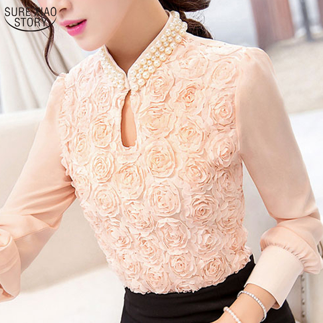 2017 New style Women  long sleeved Casual shirt Patchwork Chiffon blouse Sexy Flower Beaded lace Tops Women clothing 160E15