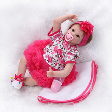 Happy Christmas Gift 55cm 22inch Reborn-Dolls With Red Veil Dress And Flower Hair Band Wholesale Good Price Beneca Bebes Reborn
