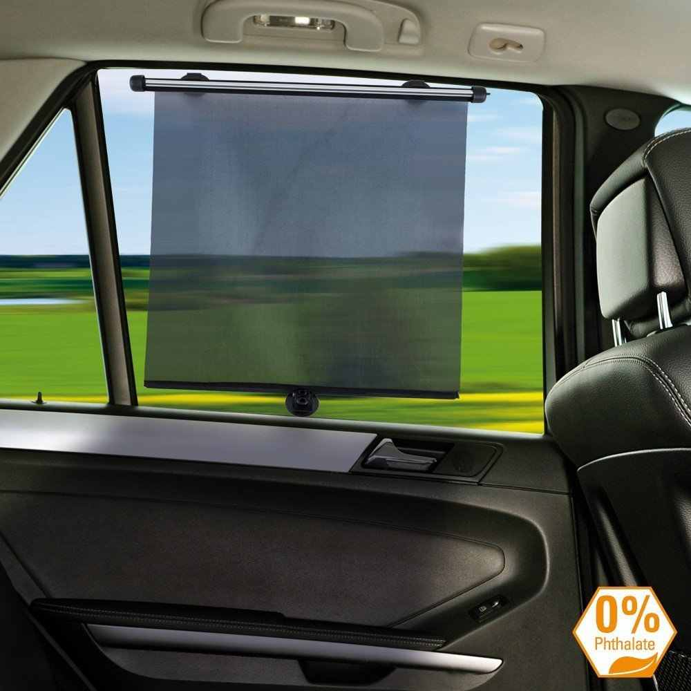 2 x Car Window Sun Shade Roller Blind Screen Children Protector Suction Fixings