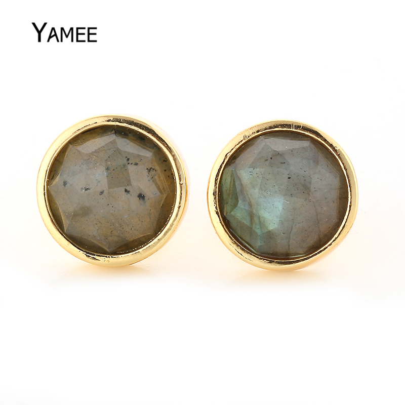 Fashion 12mm Gold Palting Stud Earrings Round Natural Labradorite stone Earrings Romantic Gift for Women Cute Charm Jewelry