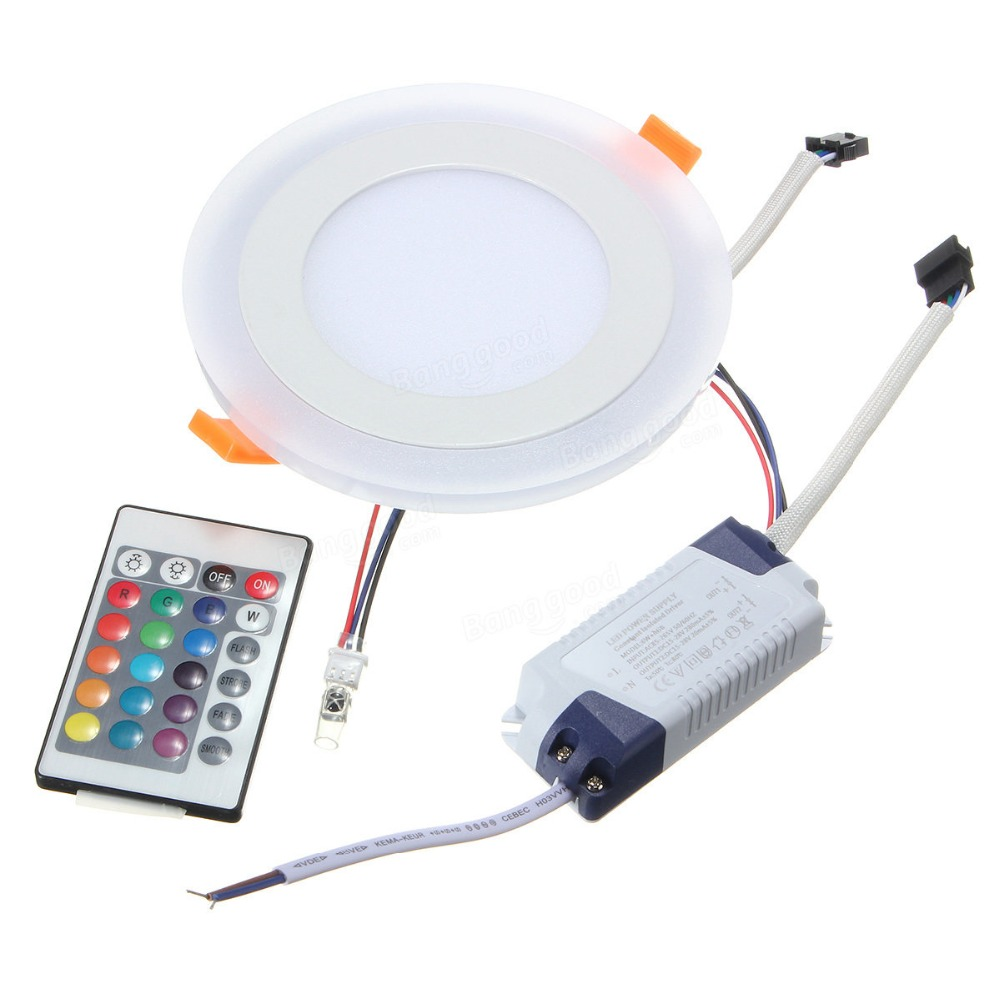 2018 New 6W 9W 18W 24W LED RGB Concealed Ceiling Panel Down Light Lamp Fixtures 100-265V remote just used for white+rgb panel