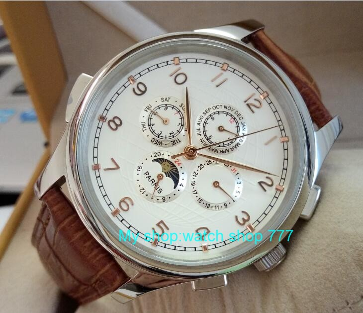 44mm PARNIS White dial Moon Phase Automatic Self-Wind Mechanical movement men watches Mechanical watches wholesale newest 44mm parnis white dial moon phase complete calendar golden plated case automatic self wind movement men s wristwatches