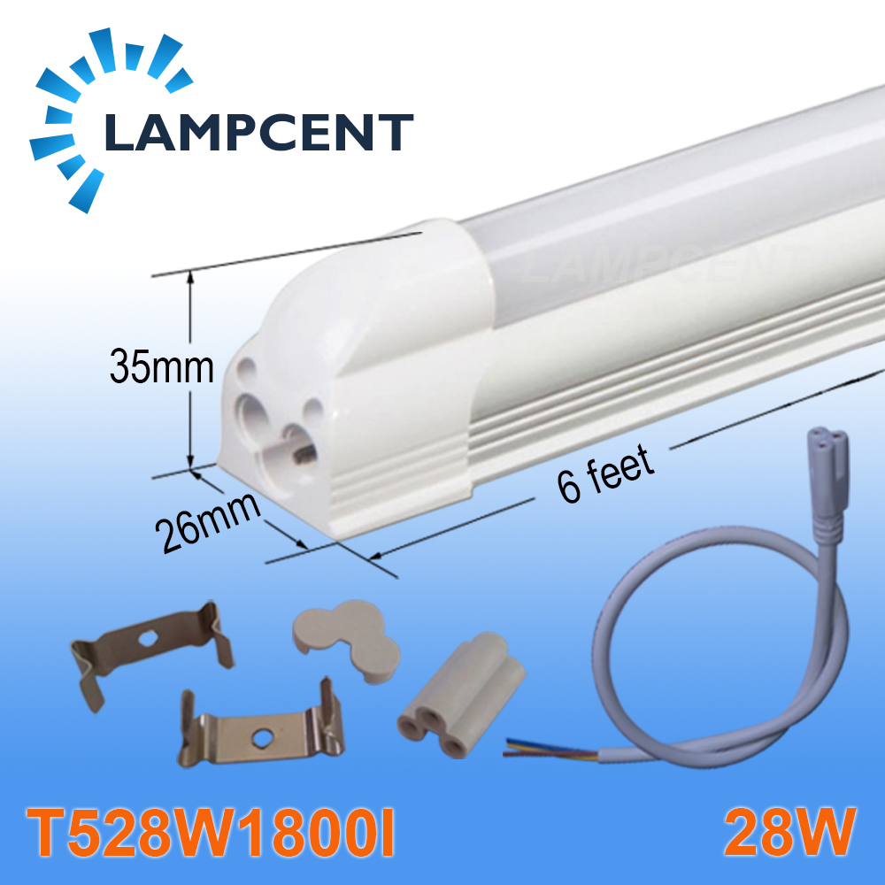 4/Pack LED Integrated Tube T5 6FT 28W 1.8M Linear Light Bulb Lamp With Accessory 4 pack free shipping t5 integrated led tube lights 5ft 150cm 24w lamp fixture with accessory milky clear cover 85 277v