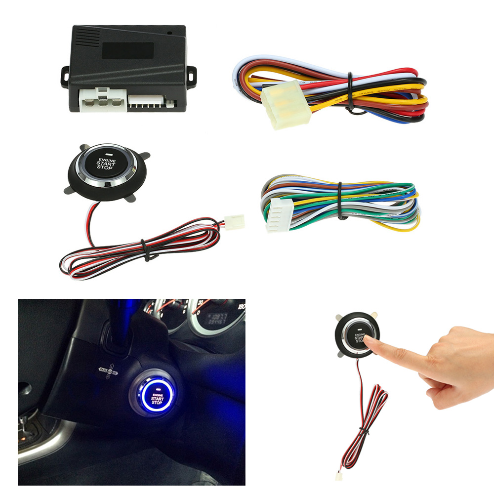 Auto Car Alarm System Engine Starline Push Button Start Stop Ignition Remote Starter Keyless Entry Locking with Remote Control