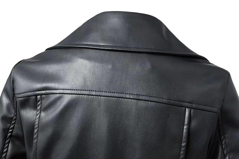 Black Zipper Long Sleeve Motorcycle Punk Faux Soft Leather Jacket Coat 4
