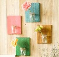Wall Mount Transparent Flower Vase Creative Hanging Decoration Vase Living Room Mini Glass Vase
