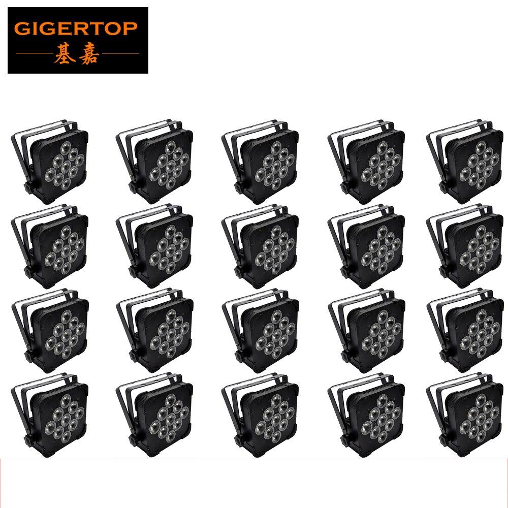 TIPTOP Lighting 20Xlot RGBW 4IN1 Flat Led Par Light 9x12W DMX 4CH/7CH Low Noise No Flicker for Movie Concert Club Aluminum Case