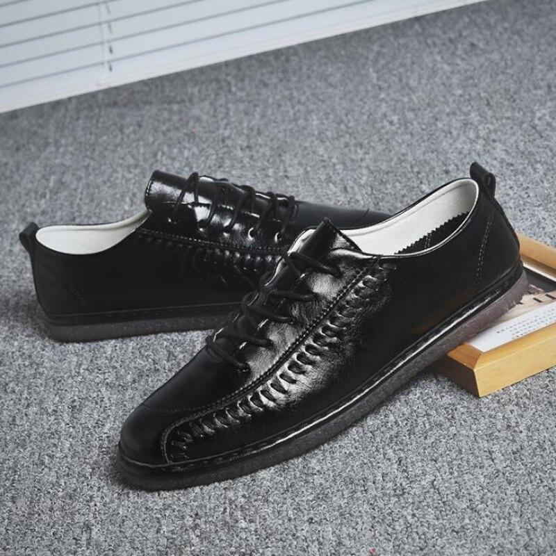 Hombre brown Britânicos white Branco Homens Grey Zapatos Planas Cinzento Qualidade De Alta Tênis Loafers Sapatos Black Couro Dos Respirável qTpwxzfIaT