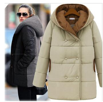 Europe and the United States large size women's winter new knit stitching hooded long-sleeved cotton jacket female jacket winter europe and the united states long sleeve hooded keep out the cold winter to keep warm and comfortable cotton coat