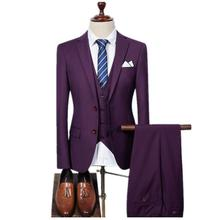 (Jacket+Vest+Pants)Men Slim Fit Suits Mens Wedding With Pants Business Formal Wear High Quality Casual