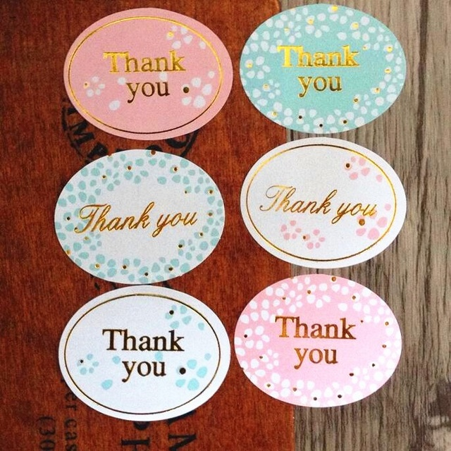 """120pcs/lot Round Golden """"Thank you"""" series color seal sticker for baking DIY Package label Decoration label stickers retail"""