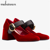 Fashion Black And Blue Women Dress Casual Shoes Flock Round Toe Ladies Thick High Heels Ankle