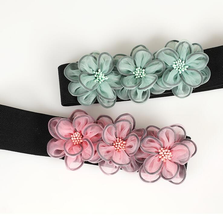 Women's Runway Fashion Flowers Elastic Cummerbunds Female Dress Corsets Waistband Belts Decoration Wide Belt R1467