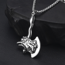 купить 316L Stainless Steel Dragon Axe Pendant Necklace Jewelry Men's Long Chain Necklaces Hyperbole Jewellery Gift дешево