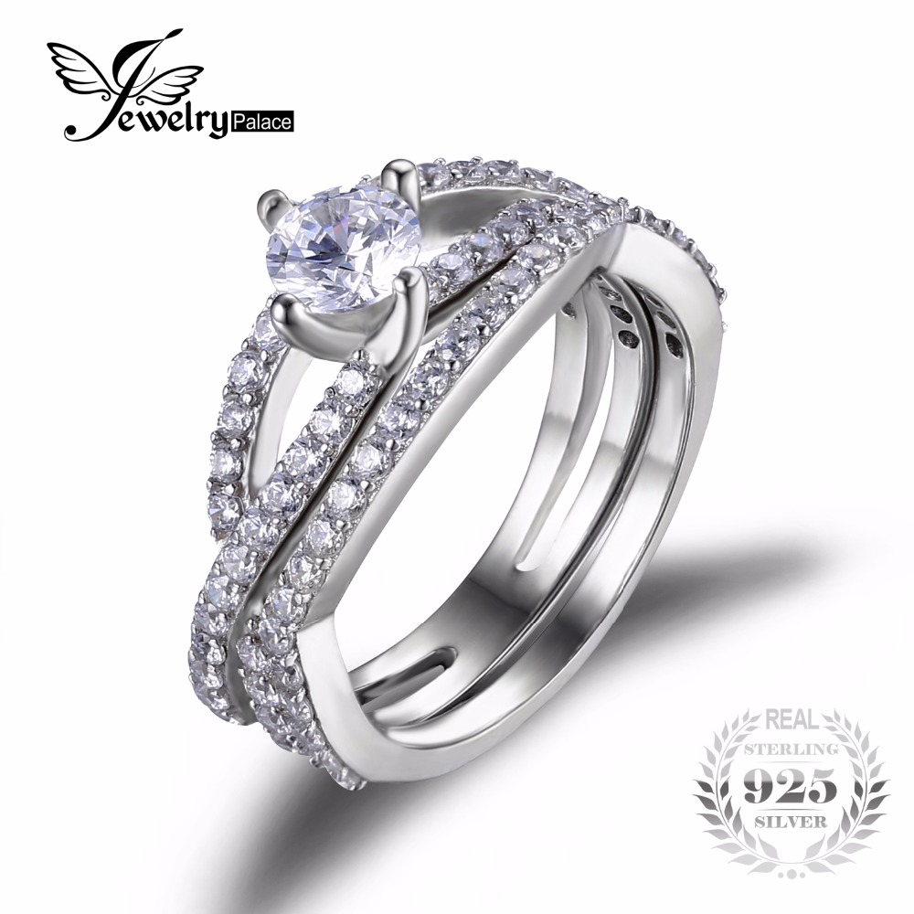 New Arrival 925 Silver Infinity Ring With Shiny Cubic Zirconia Fashion 2 Piece Ring Wedding Engagement