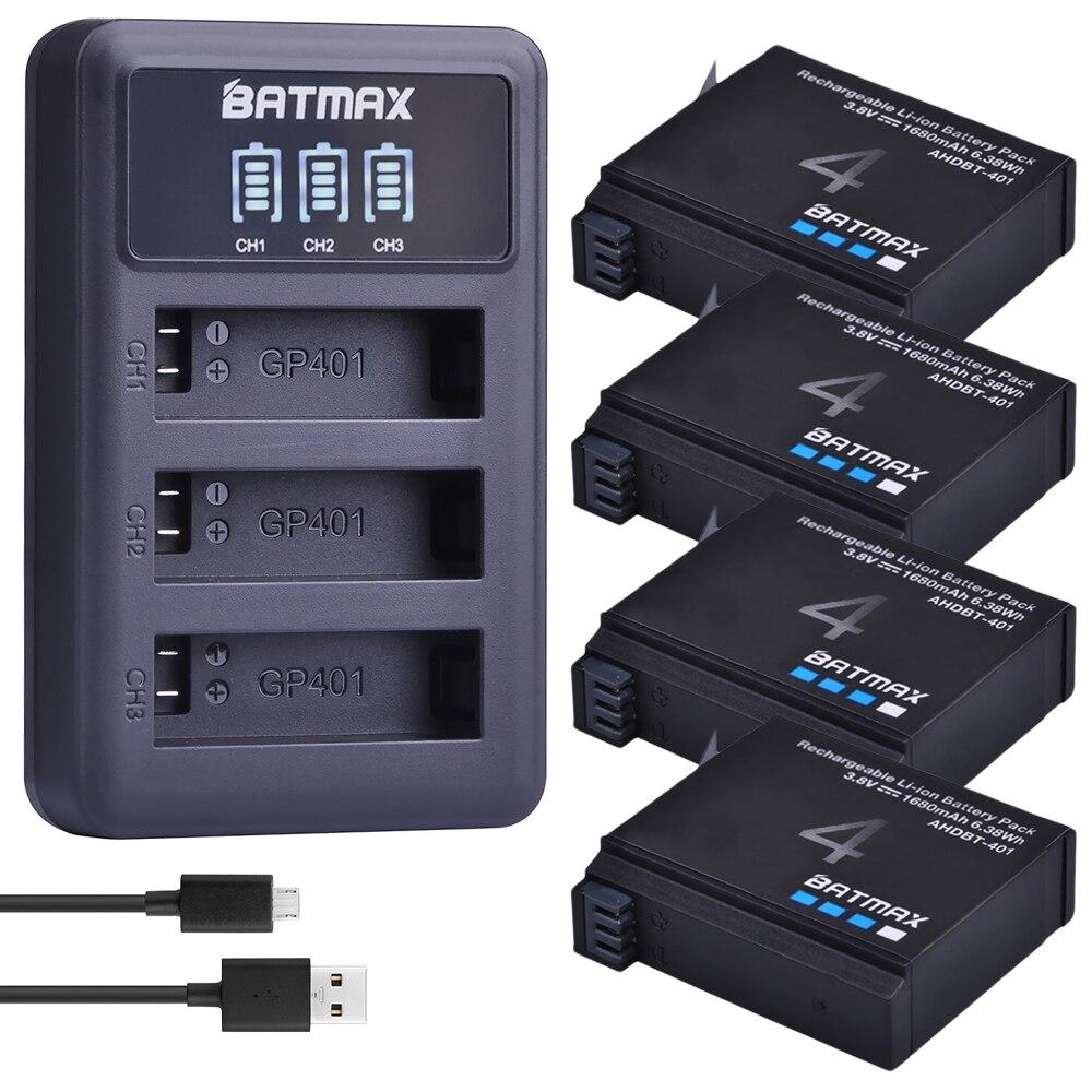 4 pces 1680 mah gopro hero 4 bateria substituição + led 3-slots carregador usb para gopro hero4 gopro AHDBT-401 ação câmera bateria