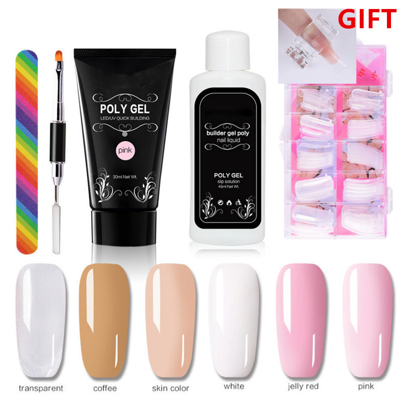 6pcs/kit 30ml Poly Gel Finger Extension Crystal Jelly White Coffee Nail Gel UV LED Hard Gel Acrylic Builder Nail Art Gel Set