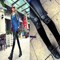 Корейской моды Леггинсы Черная Кожа Колено череп девять брюки Леггинсы показать легин гетры boothose оптовая