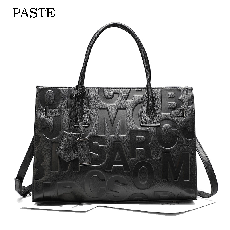 2018 Brand Designer Women Leather Tote Bag Large Capacity Cowhide Leather Female Handbag Press Letter Fashion Shoulder Organ Bag 2017 esufeir brand genuine leather women handbag fashion shoulder bag solid cowhide composite bag large capacity casual tote bag