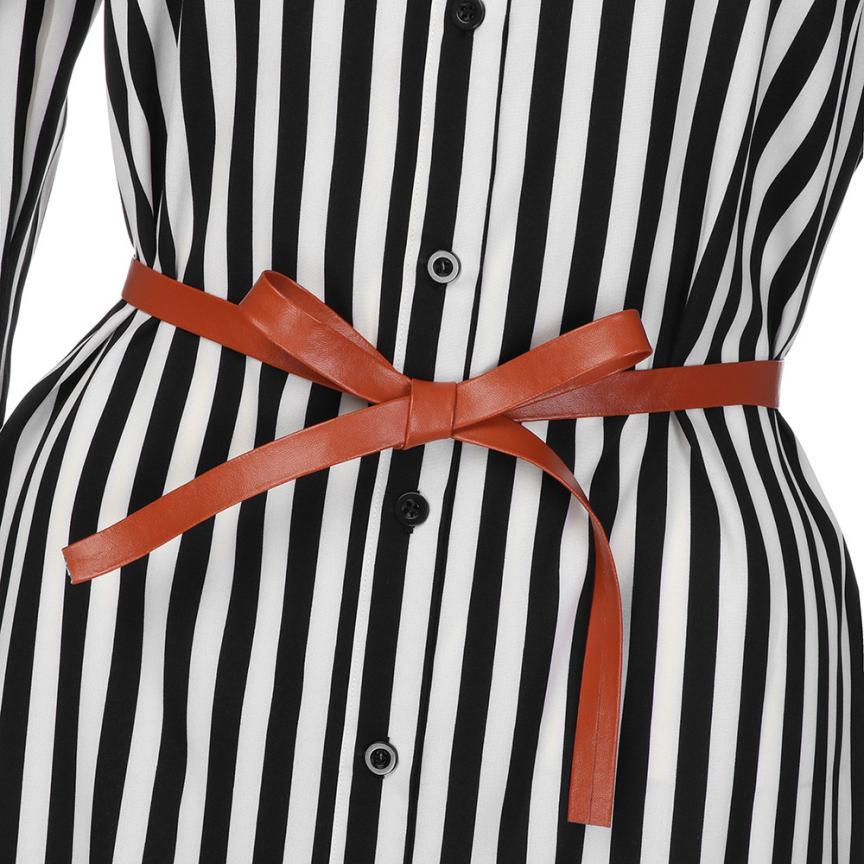 KANCOOLD Dress Women fashion Stripe Printed Long Sleeves Button Dress Bandage Belt Shirt Long Dress women 18AUG8 10