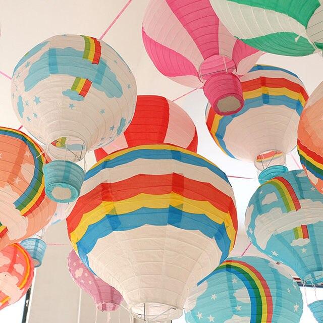 Online Shop 30cm Rainbow Printing Paper Lantern Hot Air Balloon