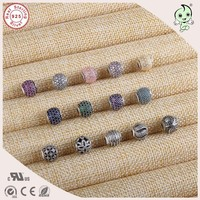 DIY High Quality New Collection Fashion Shinning CZ Paving 925 Real Silver Small Hole Charm Fitting