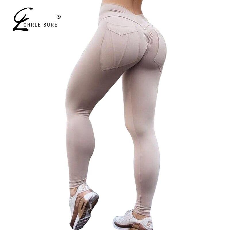 CHRLEISURE Mujer Leggings de entrenamiento de cintura alta Push Up Leggings femeninos de bolsillo sólido Mujer 7 colores