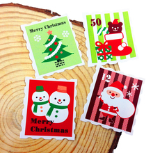 100 Pcs/lot Merry Christmas Stamp Sealer Stickers Bakery Cookie Packaging Bag Paper Seal Labels