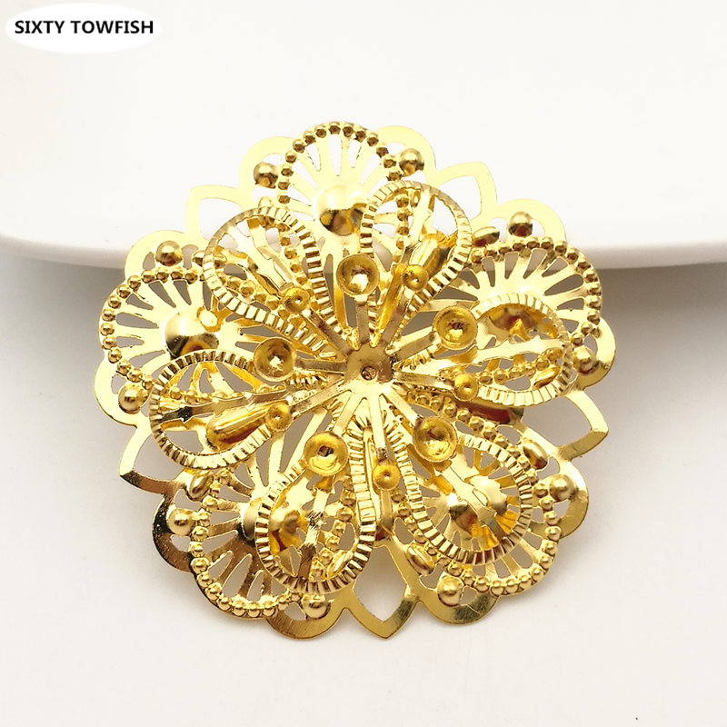 4 pcs/lot 47mm Gold color Metal Filigree Flowers Slice stereoscopic Spacers Settings DIY Components Jewelry Findings B103146