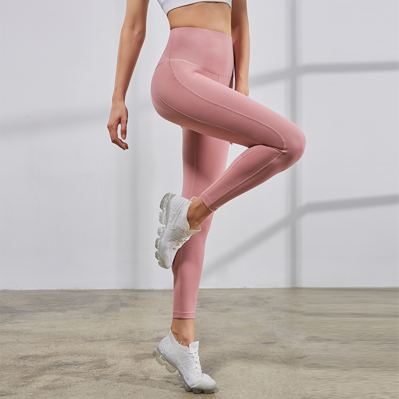 Vansydical High-waist Yoga Leggings Womens Compression Running Training Tights Skinny Fitness Workout Pants Solid Color