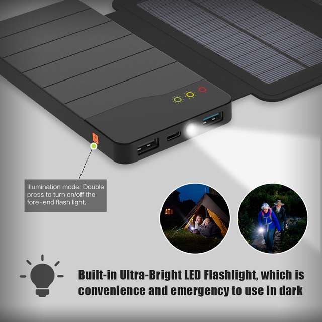 ALLPOWERS 10000mAh Solar Power Bank Waterproof Solar Charger External Battery Backup Pack for Cell Phone Tablets iphone Samsung 5