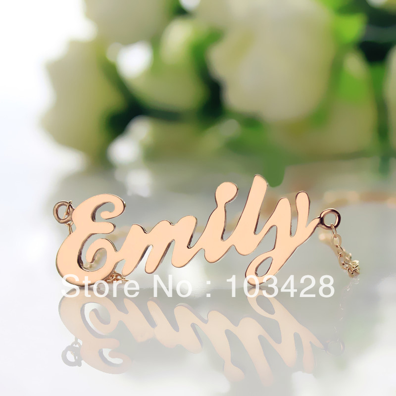 US $16 14 15% OFF|AILIN Freeshipping Personalized Nameplate Necklace Rose  Gold Color Over Silver Initials Cursive fonts Customized Name Jewelry-in