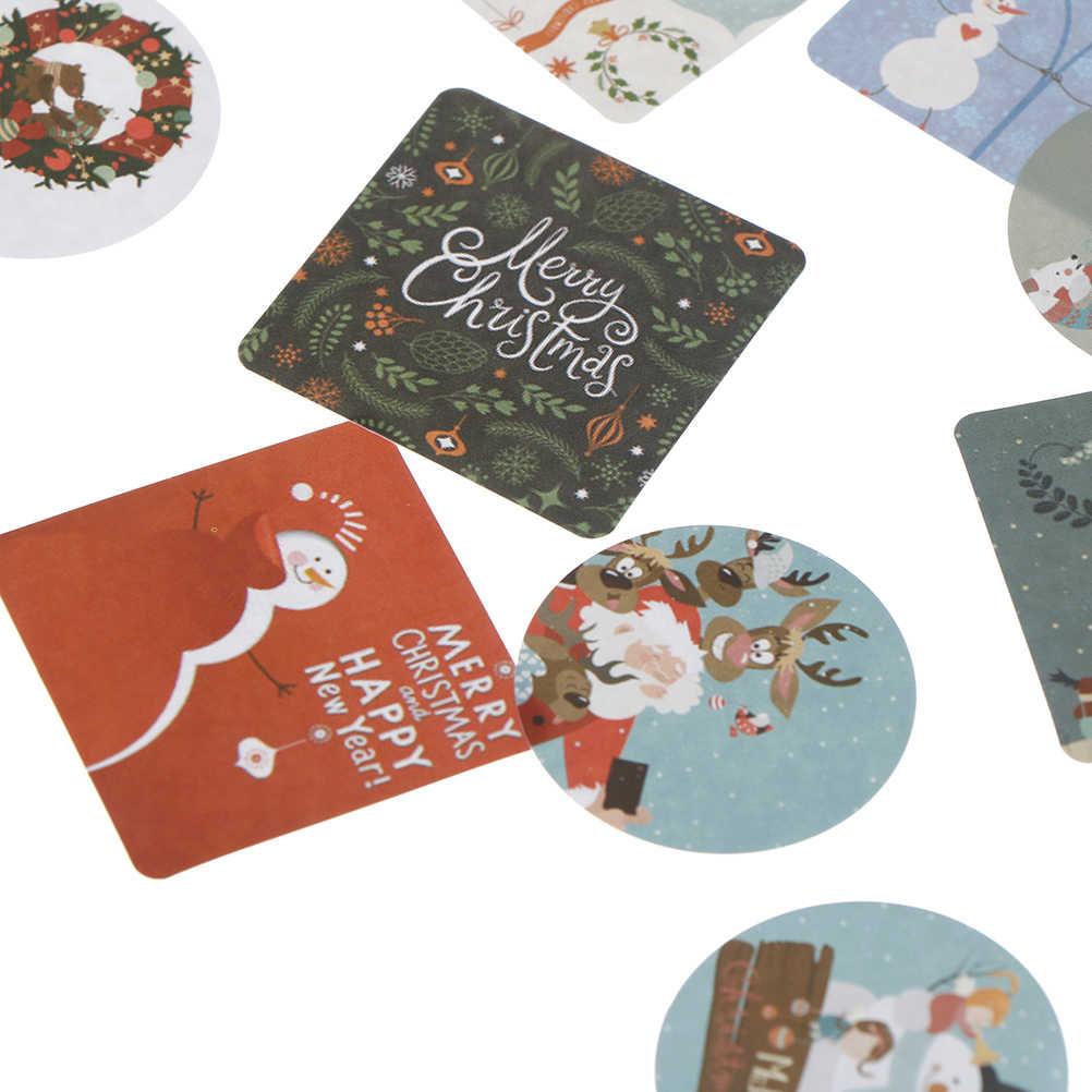 N2HAO Hot Sale Manusia Salju Natal Kawaii Dekorasi Box Sealing Stiker DIY Tangan Akun Satu Huruf Hadiah Tas Penyegelan 46 Buah/BANYAK