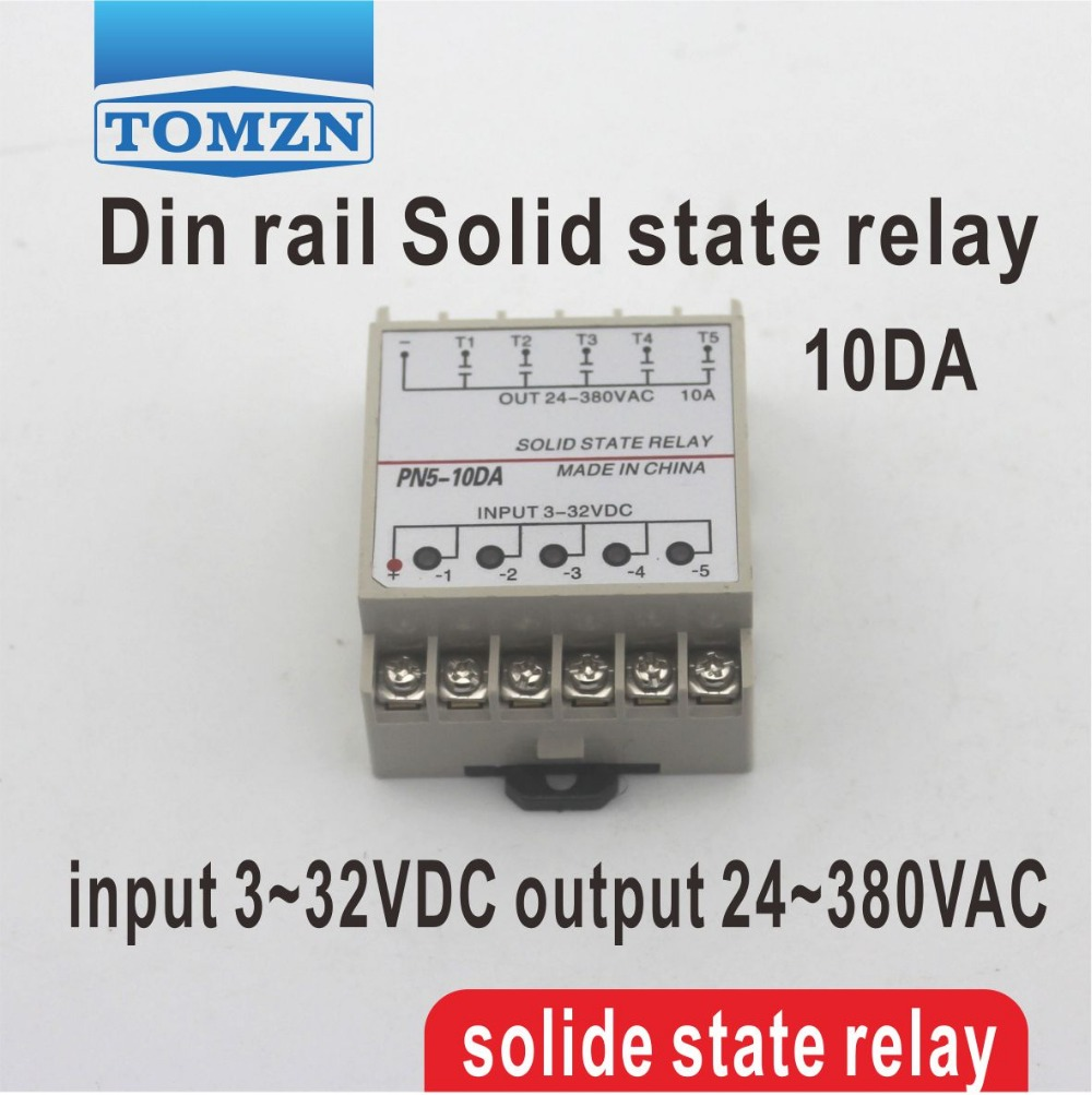 цена на 10DA 5 Channel Din rail SSR quintuplicate five input 3~32VDC output 24~380VAC single phase DC solid state relay