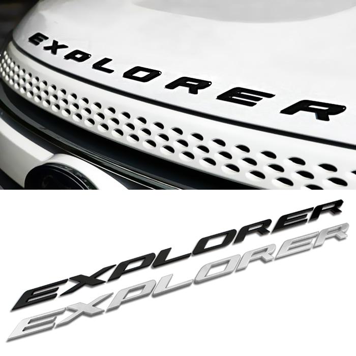Free shipping 3D EXPLORER Letters Hood Emblem Silver Chrome Black Logo Sticker For 2011 2012 2013