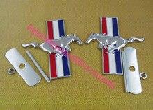 2 unids Auto car Metal Caballo Corriendo para Mustang Parrilla Delantera Grill Emblema de la Insignia