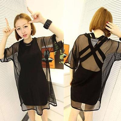 Hot 2020 Sexy Women Through Sheer Mesh Short Sleeve Tee Shirt Oversize Tops Summer Autumn Casual Tops T-Shirt