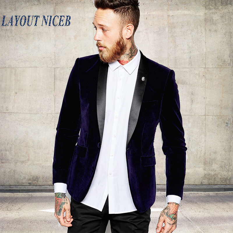 LN007 Groomsmen Shawl Black Lapel Groom Tuxedos Velvet Purple Jacket Men Suits Wedding Best Man