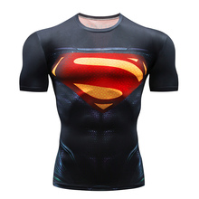 2019 New Mens GYM T-shirt Superman Fitness Short-sleeved Compression Shirt Gym Jogging Tights