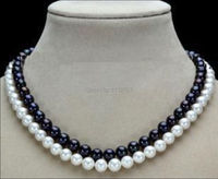 Charming 2 Row 7 8mm Black White New Freshwater Shell Pearl Necklace Beads Jewelry Natural Stone
