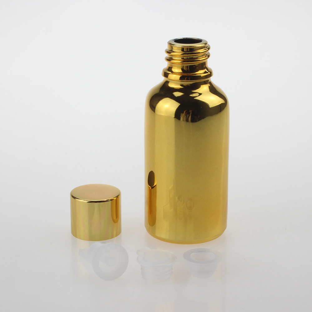30ml Gold/Silver Glass Bottle With Screw Cap ,Spray Paint Golden Essential Oil Glass Dropper Bottle Sale Well