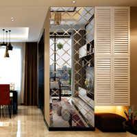 Акриловые 3D зеркальные настенные наклейки с алмазным узором, декор для гостиной, DIY настенные наклейки, большой размер на заказ, наклейка на ...