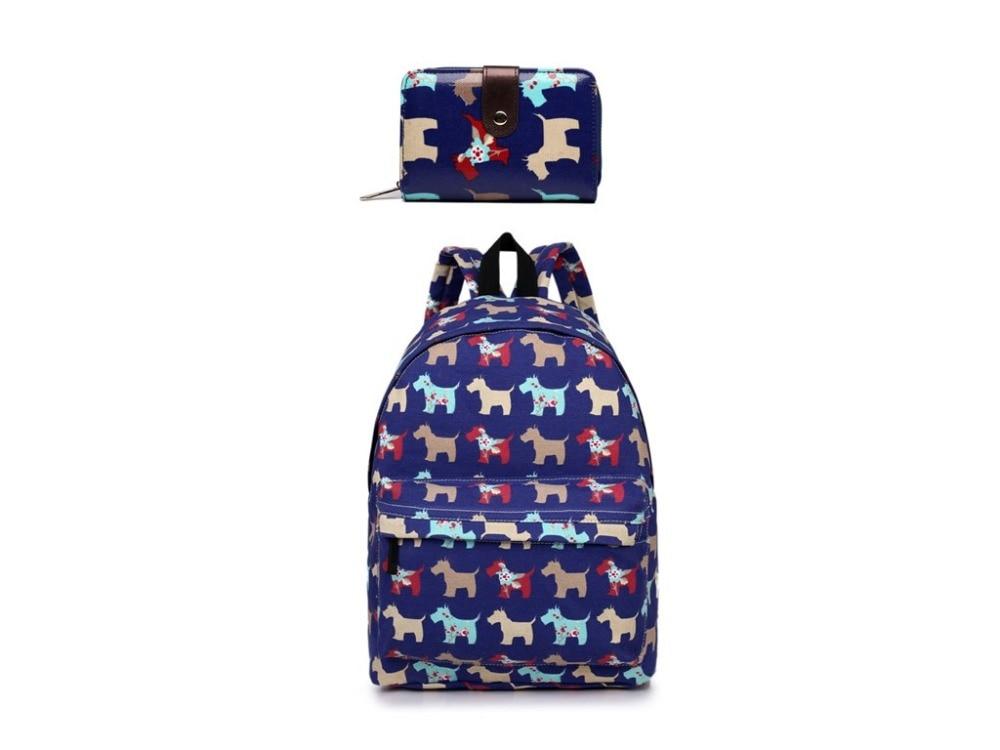 1 Set backpacks purse cute dog print women canvas school backpacks for teenagers cute girls bags
