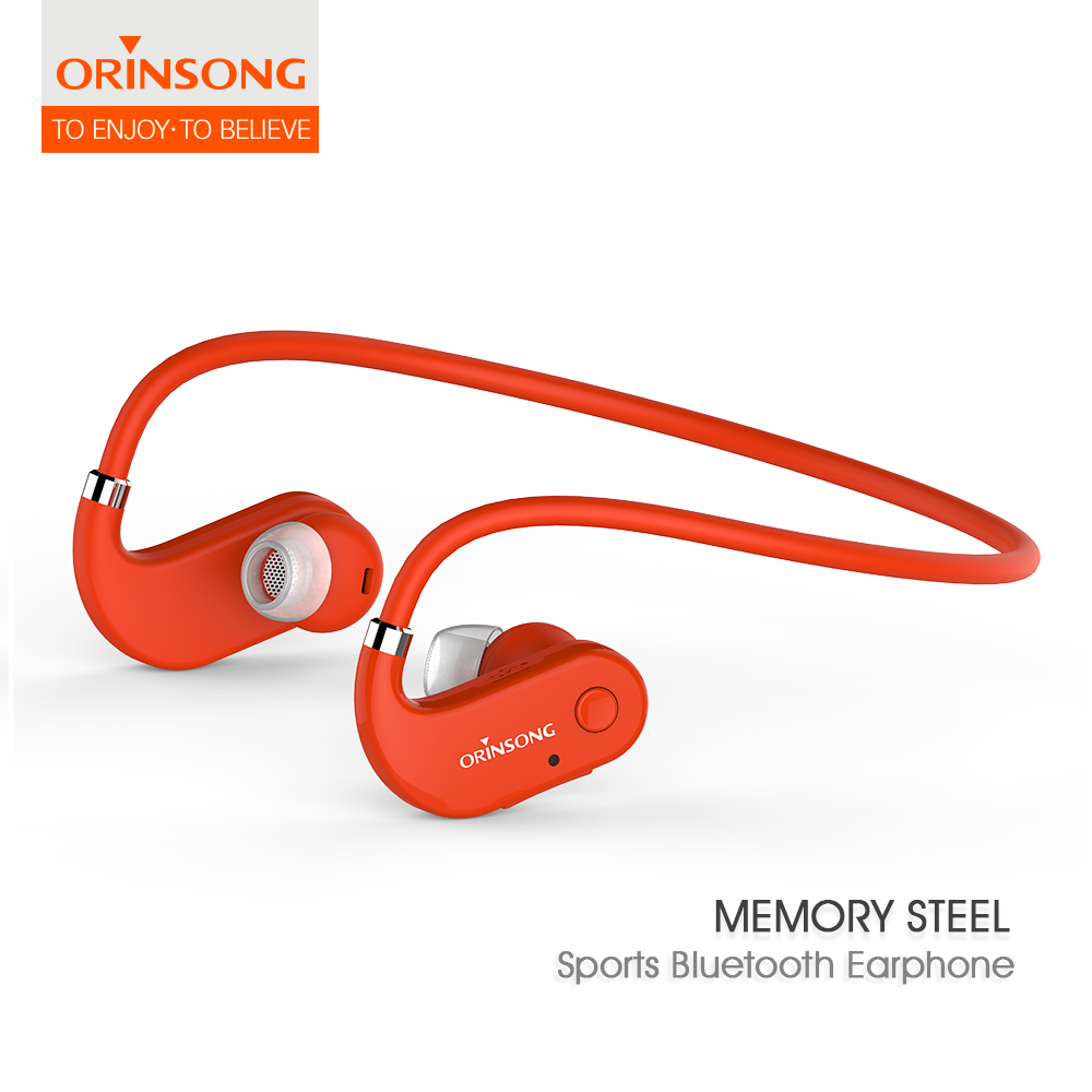 Orange bluetooth headset V4.1 Bluetooth earpiece earphone Wireless Neckband CSR4.1 Stereo HiFi in-ear Earbuds with Mic original senfer dt2 ie800 dynamic with 2ba hybrid drive in ear earphone ceramic hifi earphone earbuds with mmcx interface