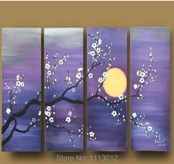 High Quality Plum Moon Tree Flower Oil Painting On Canvas 4Pcs Art Set Abstract Home Decoration Modern Wall For Living Room Sale
