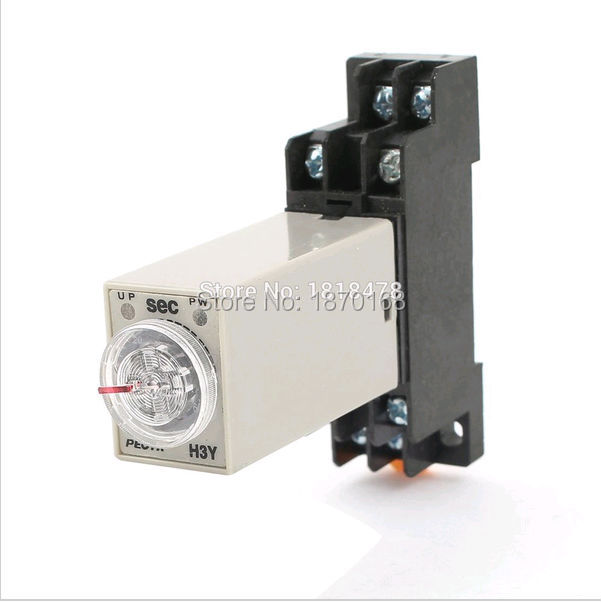 Ac 220 V H3Y-2 waktu tunda relay, Waktu Solid State 0 - 60 S DPDT 3u soket normally open single phase solid state relay ssr mgr 1 d48120 120a control dc ac 24 480v