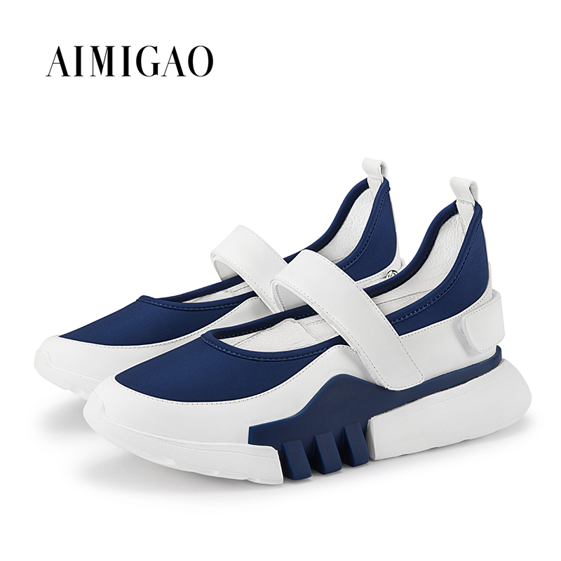 AIMIGAO White/Blue Fashion Patchwork Women Round Toe Hook & Loop Casual Flat Platform Shoes Comfortable Mid Heel 2018 Spring New minika new arrival 2017 casual shoes women multicolor optional comfortable women flat shoes fashion patchwork platform shoes