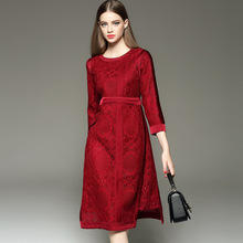 2016 New Style high quality Autumn Winter Dress Printed long Sleeve Dress big yards Women Lace stitch dresses with belt